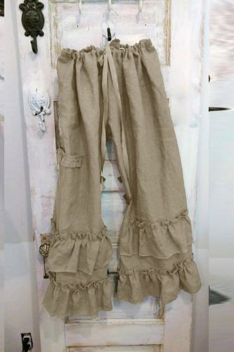 Pants Women Plus Size Solid Cotton Linen Folds Casual Ruffled Loose Pocket Pants Full Length Drawstring Pockets Casual