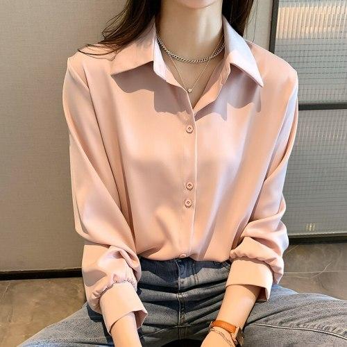 Chiffon Women's Shirts 2021 Spring Autumn Ladies Blouse Loose Long Sleeve Tops Female Clothing Plus Size 4XL KN108