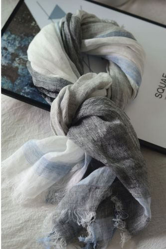Japanese Simple Gray And White Color Matching Linen Scarf Fringed Shawl To Keep Warm In Autumn And Winter, All-Match Cotton And Linen Silk Scarf Male Couple