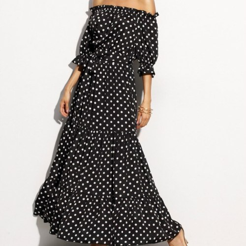 European Vintage Casual Plus Size Women Clothes Summer Dress Elegant Black Backless Dot Long Beach Dresses Female Vestidos JM010