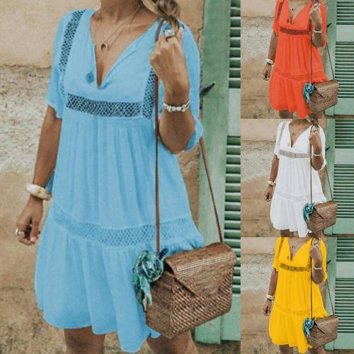 70% Hot Sell Plus Size Summer Lady Crochet Solid Color V Neck Short Sleeve Pleated Mini Dress