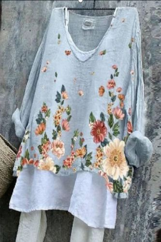 2021 Summer New Cotton And Linen Printing Two-Piece Suit Blouse Dresses