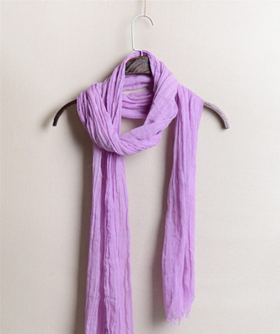 Small Size And Narrow Changchun Summer Pleated Cotton And Linen Scarf Silk Scarf For Men And Women All-Match Small Breathable Neck Scarf