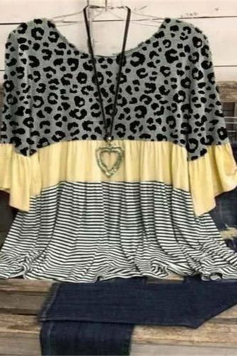 Loose Round Neck Blouses Women 2021 Summer Leopard Shirt 3xl Plus Size Tops Ladies O Neck Shirts Casual Tunic Blusa Feminina