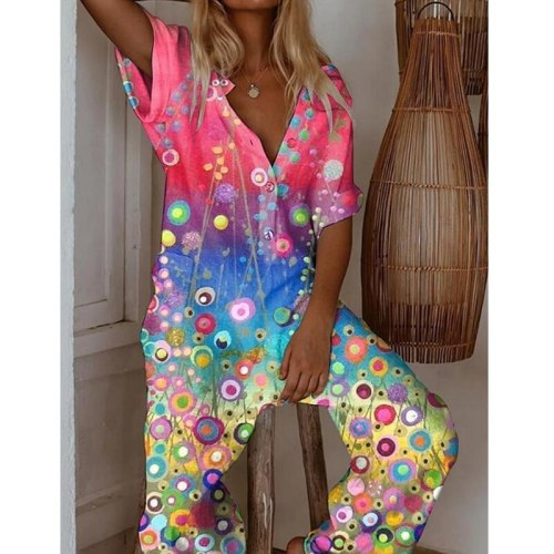 Fashion Jumpsuit Women Summer Fashion Short Sleeve Printing and Dyeing Streetwear Jump Suits for Women