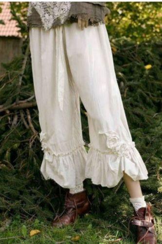 Women's Loose Wide-leg Pants Summer Cotton Linen Calf-Length Pants Solid Color Loose Casual Pants Lugentolo