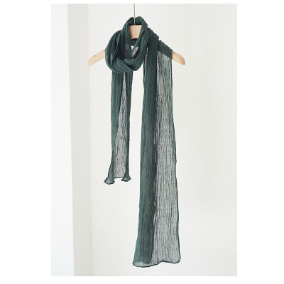 Japanese Narrow And Slender Linen Pleated Scarf, Summer Long Retro Literary Style, Gauze Thin Autumn And Winter Men