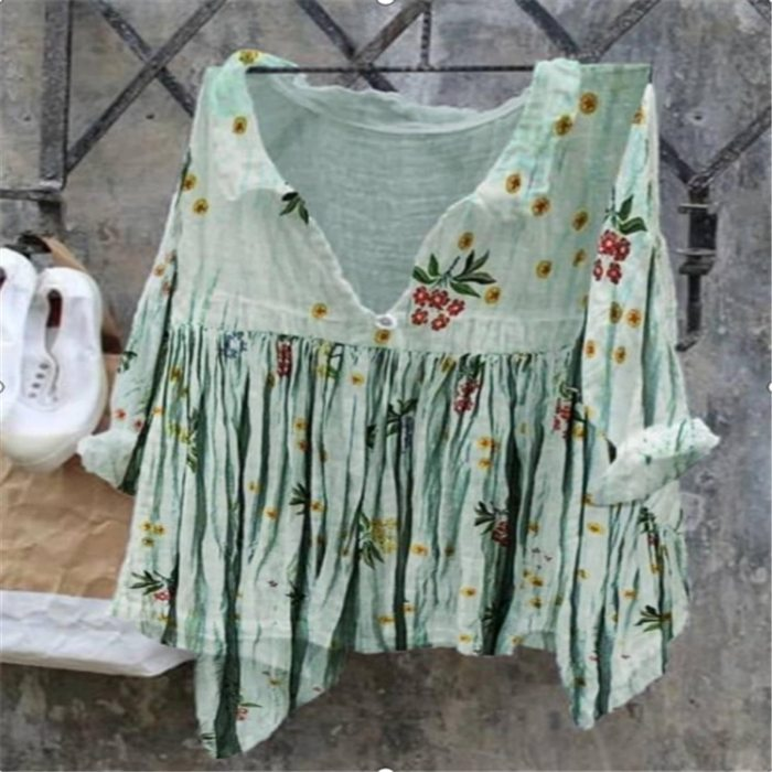 2021 new large size women's blouse loose ladies stand-up collar stand-up collar shirt irregular flower butterfly print pullover