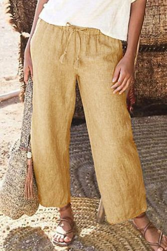 Summer New Women's Fashion Women Solid Straight Leg Halter Elastic Strap Pants Cotton Linen Drawstring Loose Wide Leg Trousers