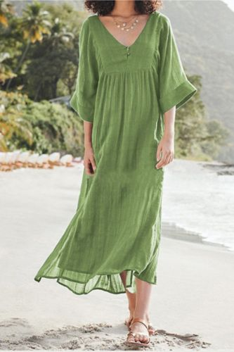 New Spring European And American Fashion Solid Color Loose Cotton And Linen Split Dress Women