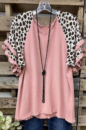Women's Blouse Fashion Plus Size Vintage Loose Blouse V-neck Leopard Print Short Sleeves Loose Casual Blouse Camisas De Mujer