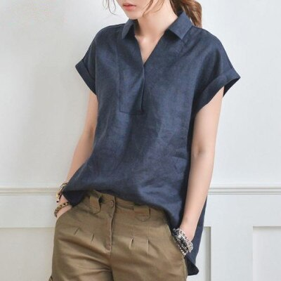 V-neck Cotton and Linen Female Shirt Casual  Lapel Solid Color Women's Blouse Summer All-matched Tunic Shirt