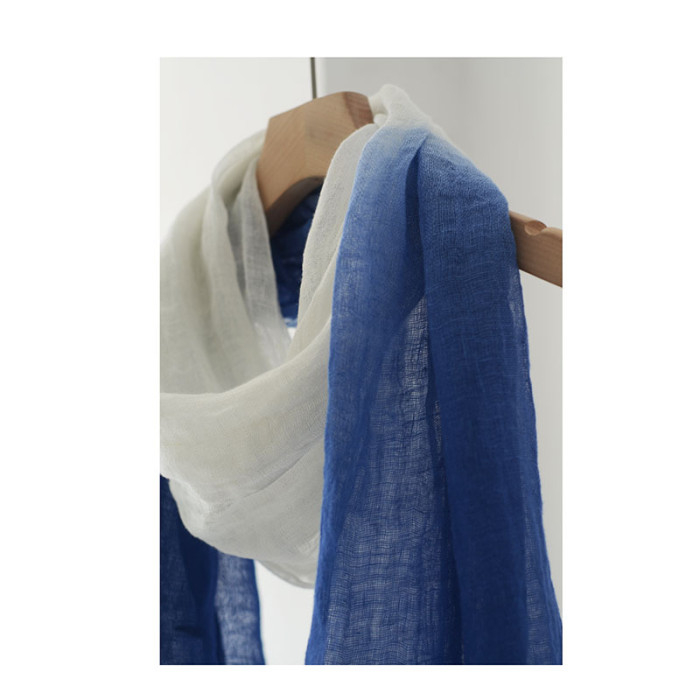 Summer Thin Linen Scarf Women Retro Blue Dyed Gradient Literary Long Fringed Gauze Shawl