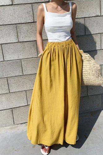 2021 Summer Women's Fashion Pure Color Cotton Wide Leg Pants Casual