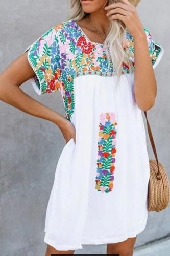 2021 new women summer dress fashion short sleeve v neck printed flower  loose dress cover casual ladies plus size dress