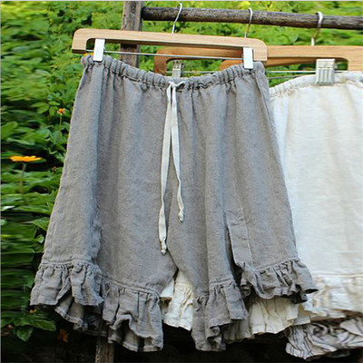 Solid Cotton And Linen Comfortable And Breathable Drawstring Split Petal Short