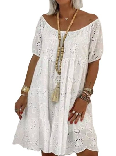 2021 New Summer Hollow Round Neck Lace Casual Solid Color Temperament Mid-Length Dress