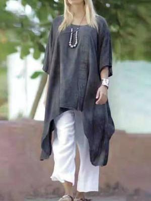 2021 Summer Linen Three-Quarter Sleeves Mid-Length Irregular Hem Dress