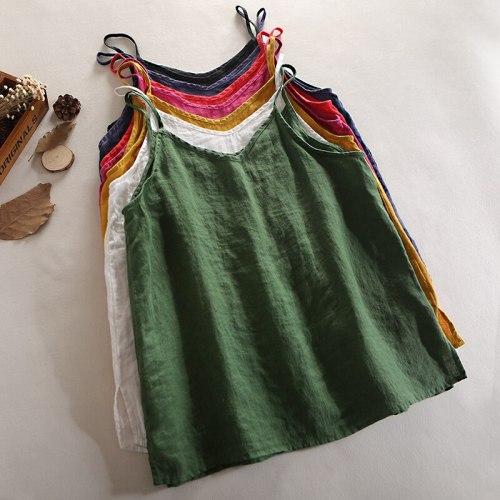 New Summer Women Solid Color Linen Tank Tops Loose V-Neck Sleeveless Women Vest