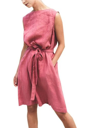 Dresses For Women  COTTON  Linen  Casual  A-LINE  Knee-Length Backness Lace Up Summer  Dress For Women
