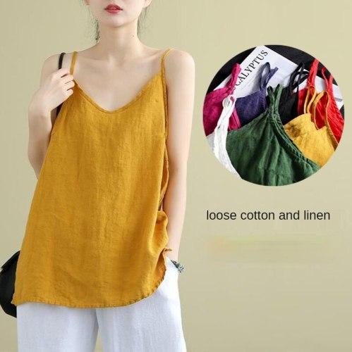 Women's Summer Top Cotton Linen Spaghetti Strap Top Women Halter V Neck Basic Yellow Sleeveless Tank Tops Loose Casual Camis