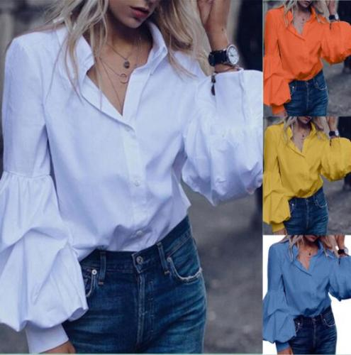 European and American autumn style cotton solid color lantern long-sleeved shirt blouse women