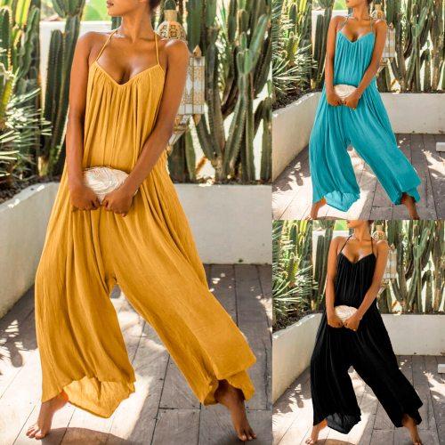 35# Bodysuit Women Casual Solid Romper Long Playsuit Button Loose Summer Overalls Backless Jumpsuit Women Combinaison Femme