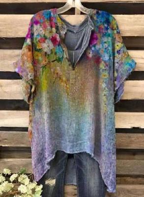 2021 Summer New Tie-Dye Effect Printed Short-Sleeved Burnt T-Shirt