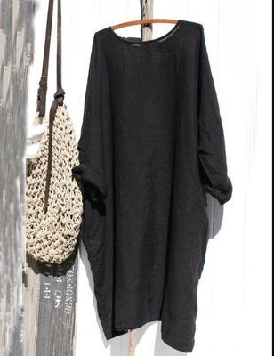 2021 Hot Style Loose Solid Color Cotton And Linen Stitching Round Neck Simple Long-Sleeved Dress