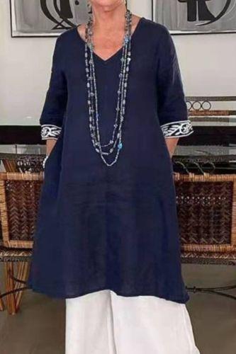 2021 Spring And Summer New Solid Color Casual Loose Pocket V-Leader Print Dress Women