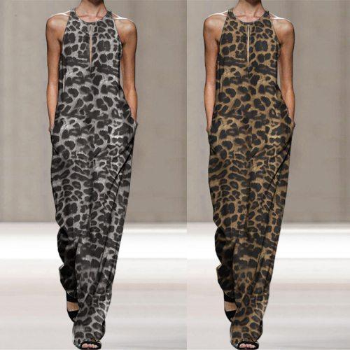 50# Women's Jumpsuits Sleeveless Overalls Jumpsuit Casual Leopard Print Bodysuit Summer Wide Leg Bib Long Pants боди женское
