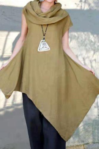 2021 New Irregular Solid Color Big Swing Dress Plus Size Women'S Short Sleeve Dress