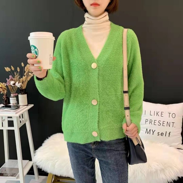 2021 Fall Winter Single-Breasted Women's Short Cardigan Soft Flexible Knitted Outwear Elegant Full Sleeve Mohair V-neck Sweaters