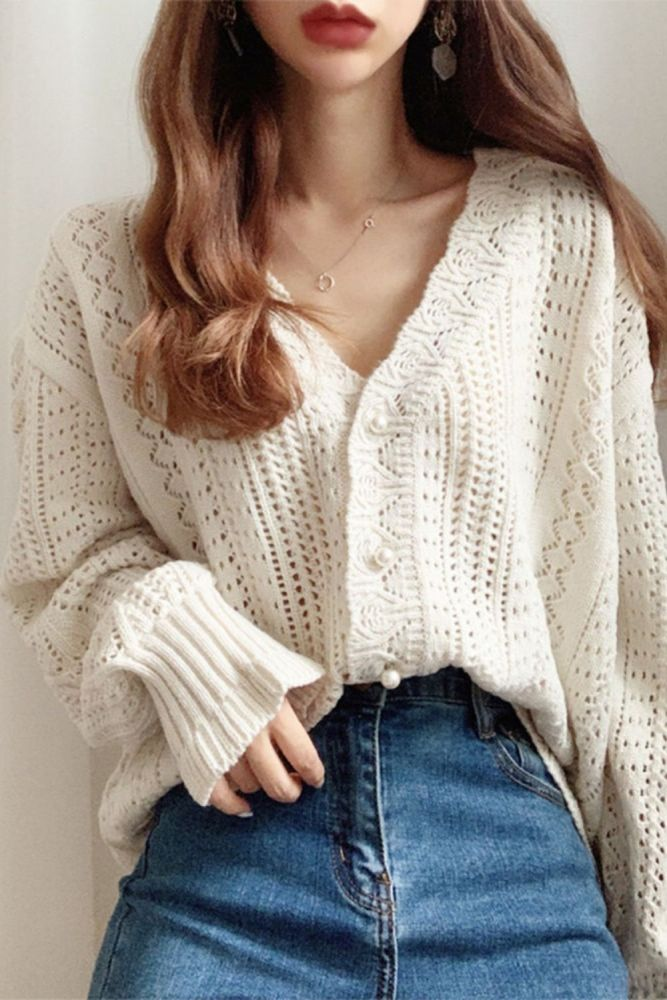 Fashion Women Cardigans Sweater New Autumn V Neck Elegant Knitted Long sleeve Hollow Out Sexy Tops Pull Femme Casual Coat