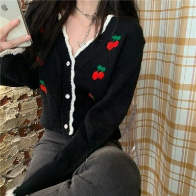 Cardigan for Women Sweet Embroidery Loose Oversize Knitted Sweater Female Knitted Outerwear Korean Tops Ladies Autumn 2020