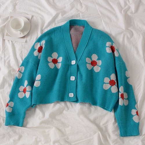 Style Flower Knit Cardigans Sweater Women V Neck Loose elegaht Thicked Pull Femme Print Short Casual Coat 46565
