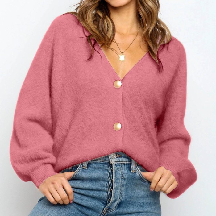 Spring Autumn Button Cardigans Sweater Tops For Women Long Sleeve V-neck Knitted Jumper Femme Pull