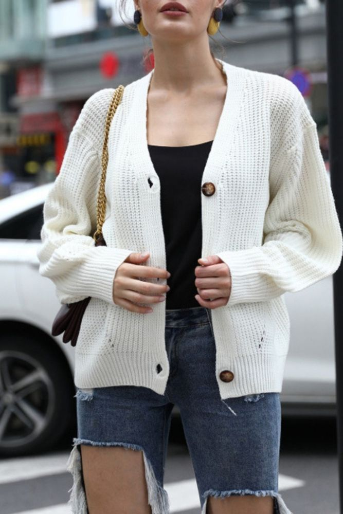 New Women's Fashion Pure Color Long-sleeved Knit Top