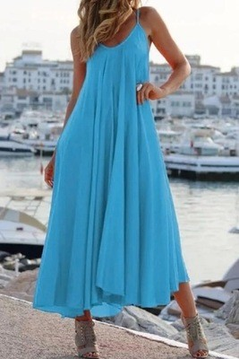 2021 New Solid Color Sling Women'S Long Dress