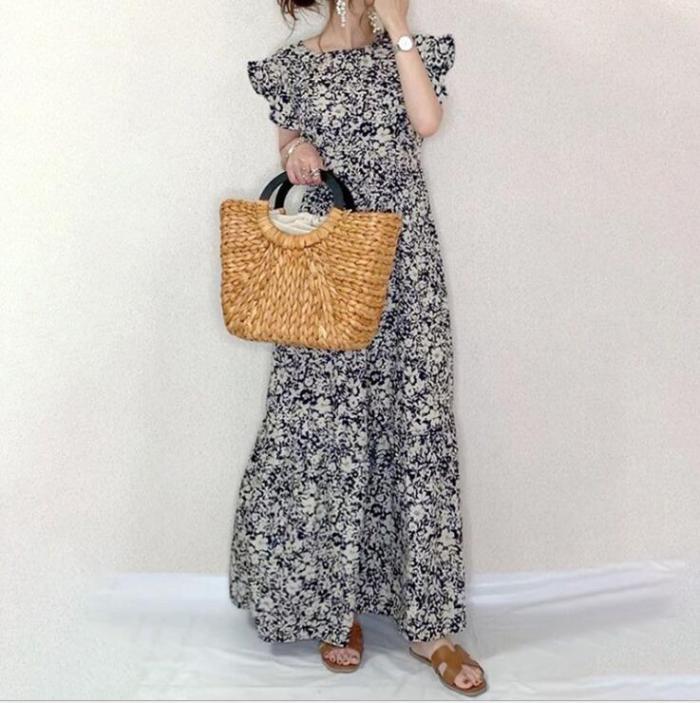 Women Casual Long Dress O Neck Short Lotus Sleeve Loose Waist Print Floral Korean Style Fashion Streetwear Vestidos Feminino New