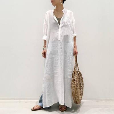White Shirt Skirt Female 2021 Summer New Japanese Temperament Commuter Loose Split V-Neck Dress