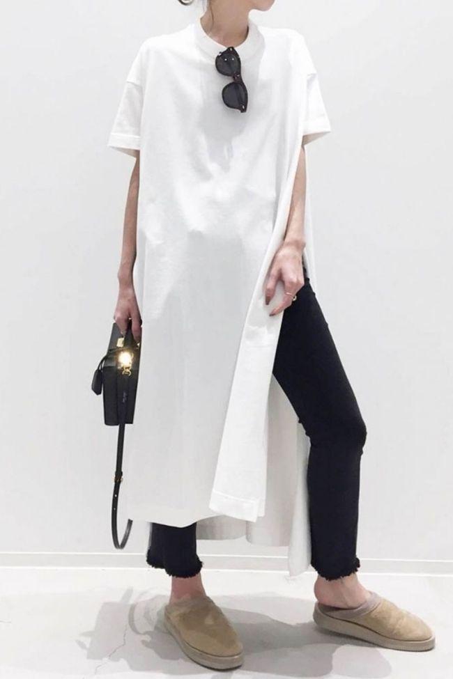 Dress 2021 New Style Short Sleeve Slit Maxi Length Ladies Fashion Pullover Standard Waist Casual Plain Pullover Dress Women Top
