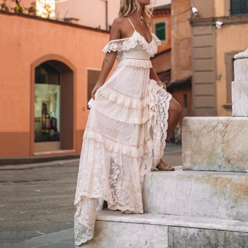 2021 Summer V-neck Sleeveless Ruffle Beach Holiday Dresses Women Elegant Lace Long Party Dress Spring Straps Floor-Length Dress
