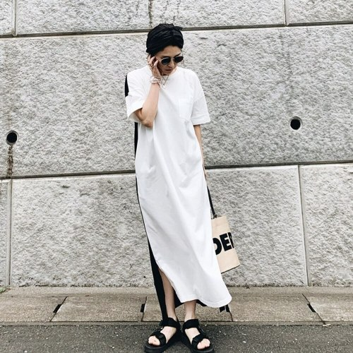 Dress 2021 New Koear Fashion Style Pullover Ankle-Length Short Sleeve Casual Street Beat Suit Casual Spring Summer And Fall
