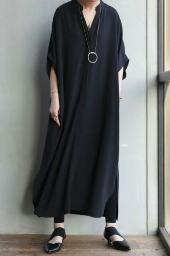 Black V-Neck Long Skirt Female 2021 Summer New Style Japanese Commuter Side Slit Dress Female 1169848