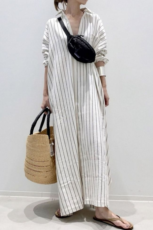 New Fashion Loose Turn-down Collar Shirt Type Dress Casual Stripe A Line Autumn Full Sleeve Long Section Loose Women Clothes
