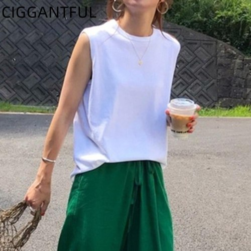 Sleeveless Vest Women 2021 Fall New Korean Style Loose All Match Casual Outer Wear Solid Color T Shirt Top White Tee Streetwear
