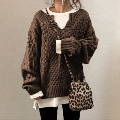 Sweater 2021 Winter Autumn Lanter Sleeve  Pullovers Casual Knitted Striped Slim Model Fuzzy Fluffy Suit Fashion Girl