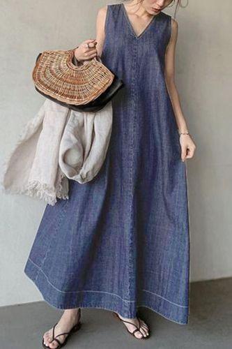 Korean Dress One Piece Denim Sundress Pullover 2021 New Japanese Plain Style Summer Women Oversized Casual Maxi Jean Long Dress