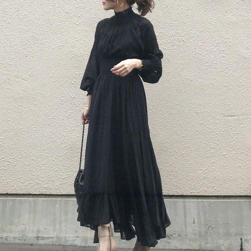 Stand Collar Black Dress Elegant Korean Fashion Pullover Women One Piece Long Sleeve High Waist Ladies Large Ruffle Maxi Dresses